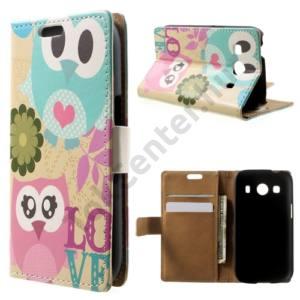 Samsung Galaxy Ace 4 LTE (SM-G357FZ) Tok álló, bőr (FLIP, mágneses, oldalra nyíló, bankkártya tartó, asztali tartó funkció, színes bagolyminta) BÉZS