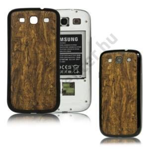 Samsung Galaxy S III. (GT-I9300) Műanyag telefonvédő (akkufedél, faerezet mintás) BARNA
