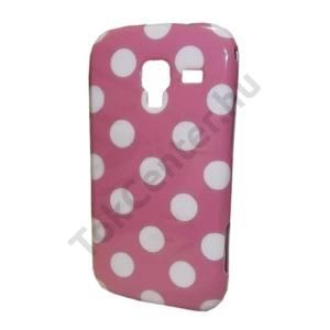 Samsung Galaxy Ace 2 (GT-I8160) Telefonvédő gumi / szilikon (fehér pöttyös) RÓZSASZÍN