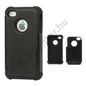 Apple iPhone 4 Defender műanyag telefonvédő (közepesen ütésálló) FEKETE