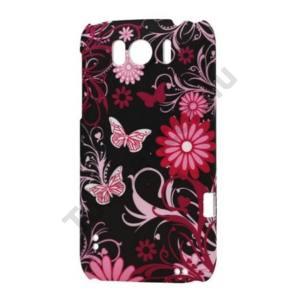 HTC Sensation XL (X315e) Műanyag telefonvédő (pillangó, virágmintás) FEKETE