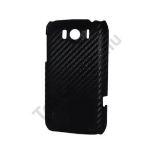 HTC Sensation XL (X315e) Műanyag telefonvédő (karbon minta) FEKETE