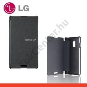 LG Optimus L7 II. (P710) Műanyag telefonvédő (FLIP, oldalra nyíló) EZÜST/FEKETE