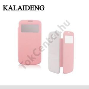 Samsung Galaxy S IV. (GT-I9500) KALAIDENG BEI műanyag telefonvédő (akkufedél, hívószámkijelzés, S-View Cover) Flip, RÓZSASZÍN