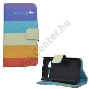 Alcatel Pop D1 (OT-4018D) Tok álló, bőr (FLIP, mágneses, oldalra nyíló, bankkártya tartó, asztali tartó funkció, csíkos) SZÍNES