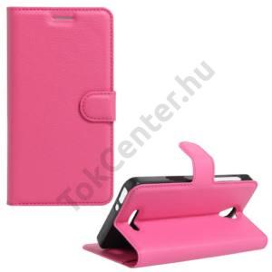 Alcatel Pop 4 (OT-5051) Tok álló, bőr (FLIP, oldalra nyíló, asztali tartó funkció) MAGENTA