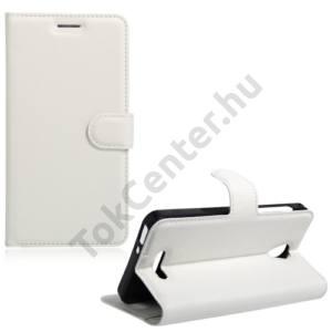 Alcatel Pop 4 (OT-5051) Tok álló, bőr (FLIP, oldalra nyíló, asztali tartó funkció) FEHÉR