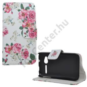 Alcatel Pop D1 (OT-4018D) Tok álló, bőr (FLIP, mágneses, oldalra nyíló, bankkártya tartó, asztali tartó funkció, bazsarózsa minta) FEHÉR
