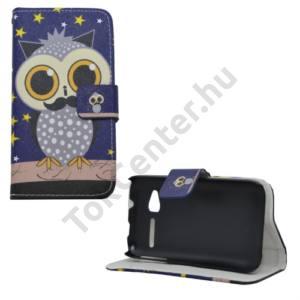 Alcatel Pop D1 (OT-4018D) Tok álló, bőr (FLIP, mágneses, oldalra nyíló, bankkártya tartó, asztali tartó funkció, bagolyminta) KÉK