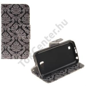LG K4 (K120e) Tok álló, bőr (FLIP, oldalra nyíló, asztali tartó funkció, damaszkuszi virágminta) BARNA