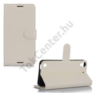 HTC Desire 530/630 Tok álló, bőr (FLIP, oldalra nyíló, asztali tartó funkció) FEHÉR