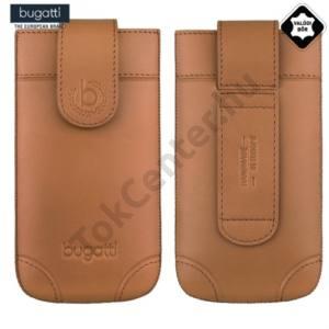 BUGATTI SLIMCASE LONDON álló tok, valódi bőr (övre fűzhető, kihúzható patent, M méret) BARNA