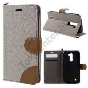 LG K10 (K420n) Tok álló, bőr (FLIP, oldalra nyíló, asztali tartó funkció, textil hatás) SZÜRKE/BARNA