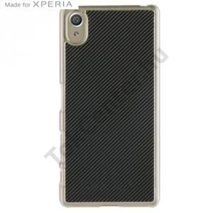 Sony Xperia X (F5121) Műanyag telefonvédő (karbon minta) FEKETE