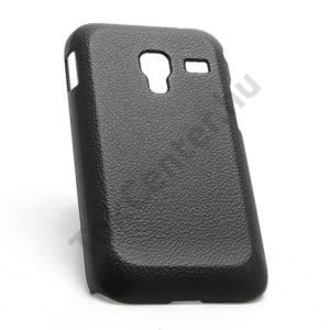 Samsung Galaxy Ace Plus (GT-S7500) Műanyag telefonvédő (bőrhatás) FEKETE