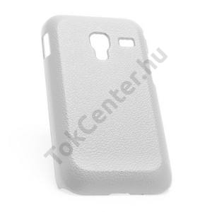 Samsung Galaxy Ace Plus (GT-S7500) Műanyag telefonvédő (bőrhatás) FEHÉR