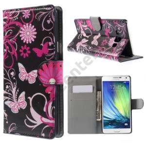 Samsung Galaxy A7 (SM-A700F) Tok álló, bőr (FLIP, oldalra nyíló,bankkártya tartó, asztali tartó funkció, pillangó,virágminta) FEKETE