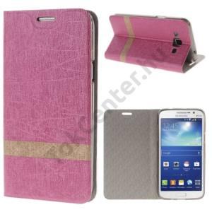 Samsung Galaxy Grand 3 (SM-G7200) Tok álló, bőr (FLIP, oldalra nyíló, asztali tartó funkció, textilminta) MAGENTA