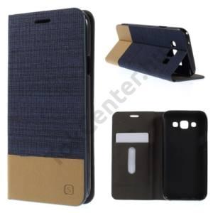Samsung Galaxy E5 (SM-E500) Tok álló, bőr (FLIP, oldalra nyíló, bankkártya  tartó, asztali tartó funkció, textilminta) SÖTÉTKÉK