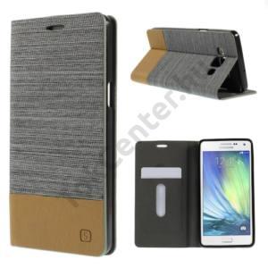 Samsung Galaxy A5 (SM-A500F) Tok álló, bőr (FLIP, oldalra nyíló, bankkártya  tartó, asztali tartó funkció, textilminta) SZÜRKE