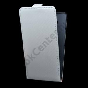 Samsung Galaxy A7 (SM-A700F) Tok álló, bőr (FLIP, mágneses, karbon minta) FEHÉR