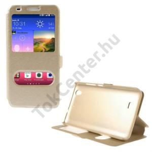 Huawei Ascend G620s Tok álló, bőr (FLIP, mágneses, oldalra nyíló, asztali tartó funkció, Dual View Window, selyem hatás) ARANY