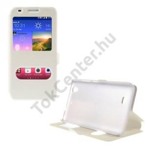 Huawei Ascend G620s Tok álló, bőr (FLIP, mágneses, oldalra nyíló, asztali tartó funkció, Dual View Window, selyem hatás) FEHÉR