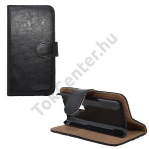 Nokia 108 Tok álló, bőr (FLIP, mágneses, oldalra nyíló, bankkártya tartó, asztali tartó funkció) FEKETE