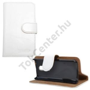 Nokia 108 Tok álló, bőr (FLIP, mágneses, oldalra nyíló, bankkártya tartó, asztali tartó funkció) FEHÉR