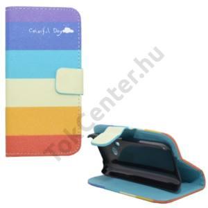Nokia 220 Tok álló, bőr (FLIP, mágneses, oldalra nyíló, bankkártya tartó, asztali tartó funkció, csíkos) SZÍNES