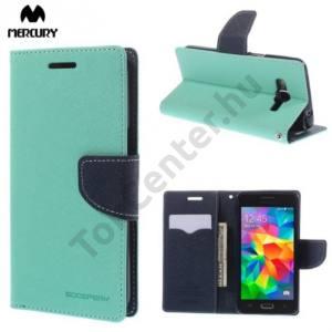 Samsung Galaxy Grand Prime (SM-G530F) MERCURY Fancy Diary tok álló, bőr (FLIP, mágneses, oldalra nyíló, bankkártya tartó, asztali tartó funkció) CYAN