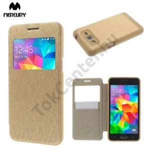 Samsung Galaxy Grand Prime (SM-G530F) MERCURY Wow Bumper tok álló, bőr (FLIP, oldalra nyíló, S-View cover, textilminta) ARANY