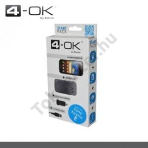 Sony Xperia Z (C6603) 4-OK Kezdőcsomag (képernyővédő fólia, telefonvédő gumi / szilikon ÁTLÁTSZÓ, szivartöltő adapter, microUSB kábel) FEKETE