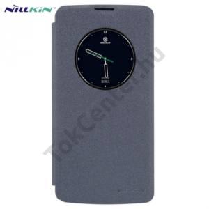 LG K8 (K350n) NILLKIN SPARKLE műanyag telefonvédő (mikroszálas bőr flip, oldalra nyíló, View Window) FEKETE