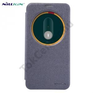 Asus Zenfone 2 (ZE551ML) NILLKIN SPARKLE műanyag telefonvédő (mikroszálas bőr flip, oldalra nyíló, S-View Cover) FEKETE