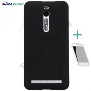 Asus Zenfone 2 (ZE551ML) NILLKIN SUPER FROSTED műanyag telefonvédő (gumírozott, képernyővédő fólia, tisztítókendő) FEKETE