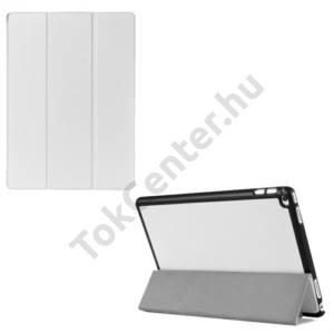 APPLE IPAD Pro 12.9 Műanyag telefonvédő (FLIP, bőrhátlap, oldalra nyíló, TRIFOLD asztali tartó funkció) FEHÉR