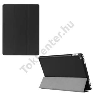 APPLE IPAD Pro 12.9 Műanyag telefonvédő (FLIP, bőrhátlap, oldalra nyíló, TRIFOLD asztali tartó funkció) FEKETE
