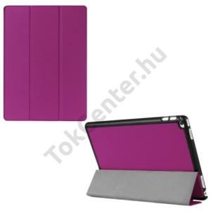 APPLE IPAD Pro 12.9 Műanyag telefonvédő (FLIP, bőrhátlap, oldalra nyíló, TRIFOLD asztali tartó funkció) LILA