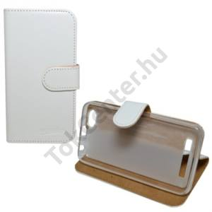 Lenovo A2020 (Vibe C) Tok álló, bőr (FLIP, oldalra nyíló, asztali tartó funkció) FEHÉR