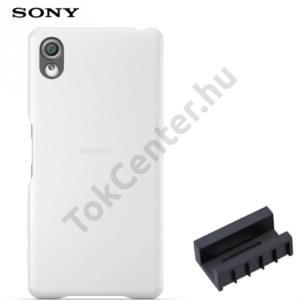 Sony Xperia X (F5121), Sony Xperia XA Ultra (F3211) Műanyag telefonvédő (bőrbevonat, DK52 töltőadapter) FEHÉR