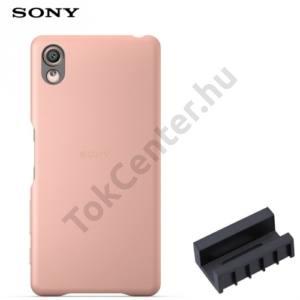 Sony Xperia X (F5121), Sony Xperia XA Ultra (F3211) Műanyag telefonvédő (bőrbevonat, DK52 töltőadapter) ROSE GOLD