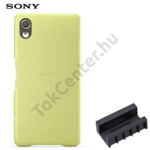 Sony Xperia X (F5121), Sony Xperia XA Ultra (F3211)Műanyag telefonvédő (bőrbevonat, DK52 töltőadapter) LIME GOLD