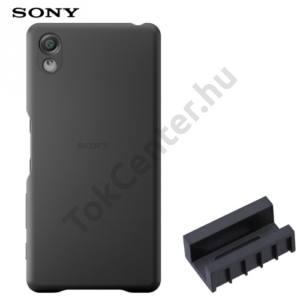 Sony Xperia X (F5121), Sony Xperia XA Ultra (F3211)Műanyag telefonvédő (bőrbevonat, DK52 töltőadapter) FEKETE