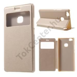 Huawei P9 lite Tok álló, bőr (FLIP,  oldalra nyíló, asztali tartó funkció, hívószámkijelzés, View Window) ARANY