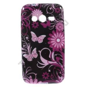 Samsung Galaxy Ace NXT (SM-G313H) Telefonvédő gumi / szilikon (pillangó, virágminta) FEKETE
