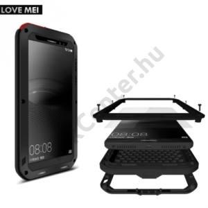 Huawei Mate 8 LOVE MEI Powerful defender telefonvédő gumi (ütésálló, Gorilla Glass üveg, fém keret) FEKETE