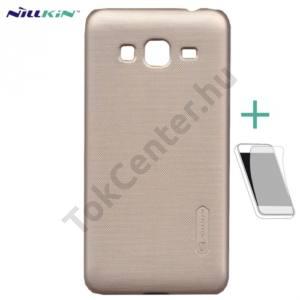 Samsung Galaxy J3 (2016) (SM-J320) NILLKIN SUPER FROSTED műanyag telefonvédő (gumírozott, érdes felület, képernyővédő fólia, tisztítókendő) ARANY