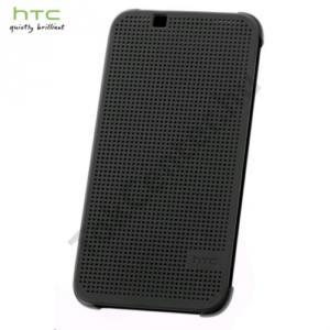 HTC Desire 510 Műanyag telefonvédő (FLIP, oldalra nyíló, pontmátrix kialakítás) FEKETE