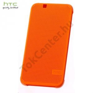 HTC Desire 510 Műanyag telefonvédő (FLIP, oldalra nyíló, pontmátrix kialakítás) NARANCS